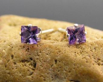 Amethyst earrings, amethyst stud earrings, natural violet amethyst earings 3x3 mm - amethyst studs - amethyst earring