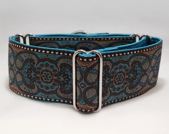 2 inch Martingale Collar, Tres' Jolie Turquoise Brown Gold Geometric Jacquard Ribbon Martingale Collar, Greyhound Dog Martingale Collar