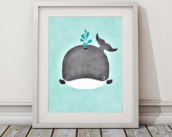 8x10, 5x7, 5x5 Baby Whale Watercolor, Whale Art, Whale Nursery Art, Nursery Decor, Baby Art, Whale Nursery Print, Baby Animals, Cute Whale