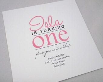 Birthday party Invitation, girl or boy 1st 2nd 16th 40th etc