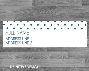 """Addison Collection Polka dot Return Address Labels - 2.66"""" x 0.83"""" Customizable Printed Stickers"""