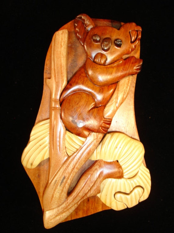 Hand carved wood art intarsia koala bear puzzle by