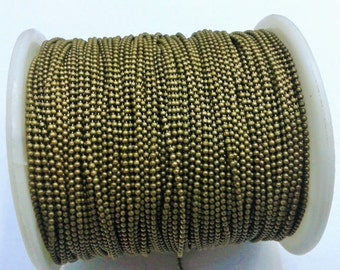 330  Feet -100  Meter Antique Bronze 1.2 mm Ball Chain