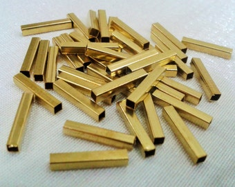 100 Pcs  Raw Brass    2 x 12  mm Geometrik Square Tube, Square Shape,Findings ,