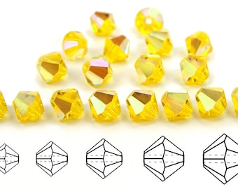 Citrine AB coated, Czech MC Bicone Bead (Rondell, Diamond Shape) in 3mm, 4mm and/or 6mm, Yellow AB color