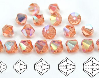 Light Peach AB coated, Czech MC Bicone Bead (Rondell, Diamond Shape) in 3mm, 4mm and/or 6mm, Pink AB Color