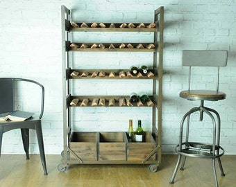 Kitchen storage  Industrial vintage retro Wood Wine rack rustic style made from mango wooden material hardwood with cast metal frame
