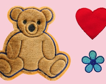 Brown Teddy Bear Red Heart Blue Flower Kaylee Firefly Costume Embroidered Sew On Patches Applique DIY Cosplay Craft Supplies JS106