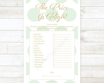 mint and gold baby shower the price is right game baby shower game mint and gold glitter the price is right - INSTANT DOWNLOAD
