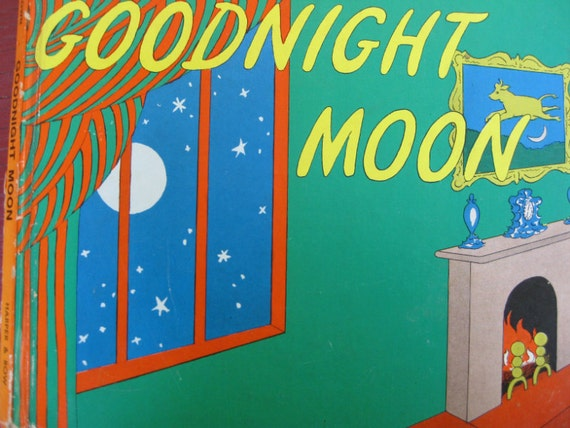 Vintage Children S Book Cover Prints ~ Vintage book cover print goodnight moon children s by