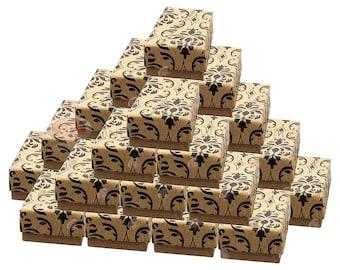 "25 Damask Print Cotton Filled Gift Boxes 1 7/8"" x 1 1/4"" Charm Ring Jewelry Box (Free Shipping USA)"