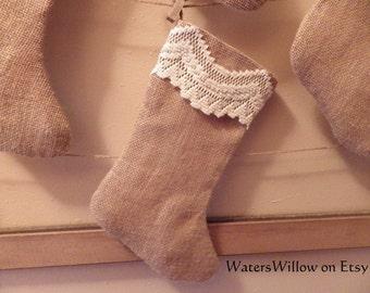 Burlap, Beaded, Lace, Christmas Stocking, with Muslin Lining - Handmade