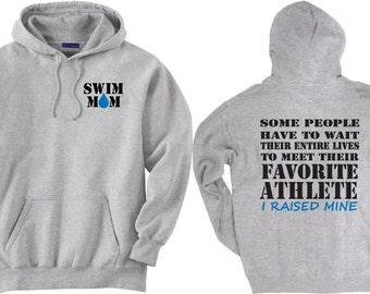 Swim mom shirt.  Favorite Athlete. Gray Hoodie Sweatshirt.