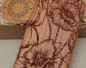 Floral Custom   Wild Poppies   Wood Phone Case Samsung Note 8 5 4  Galaxy S9 S8 plus S6  S7 edge S5 mini A5 2016 Cherry Wooden Cover