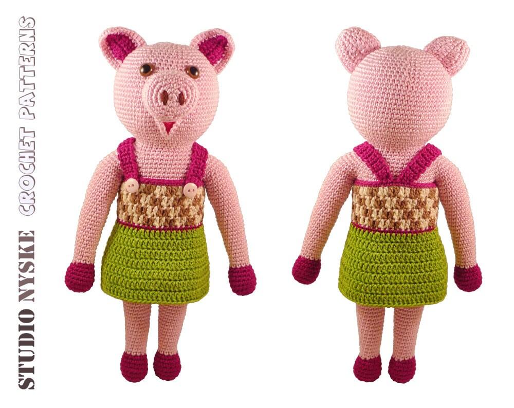 Amigurumi Stuffed Animals Patterns : Crochet animal PATTERN amigurumi toy stuffed pig by ...