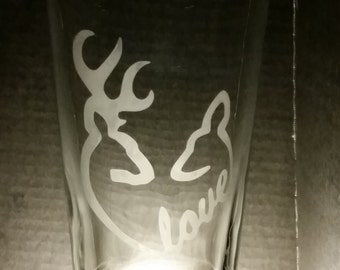 Deer Love Etched Pint Glass Buck and Doe Etched Glass Heart Hunting Love Deer Hunting Heart Etched Glassware Gift for Him and Her