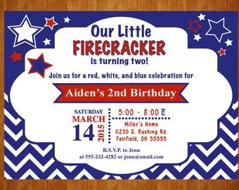 Patriotic Birthday Invitation Red, White, and Two Birthday Invitation digital Printable Red, White, and Blue 4th of July Birthday Invitation