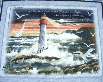 """Diane Morgan's A Sailor's Prayer Nautical LG Fabric Panel~36""""x44""""~For Wall or Quilt~Lighthouse~sea"""