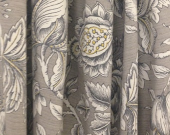 Floral Curtains Swavelle Perdido Graphite Curtain Panels Grey Curtains Yellow Curtains ONE PAIR
