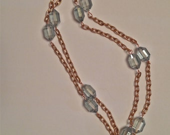NECKLACE, CRYSTALS, COPPER chain, ovallink, barrel-shaped Cymbian etched crystals, gorgeous, double chain necklace