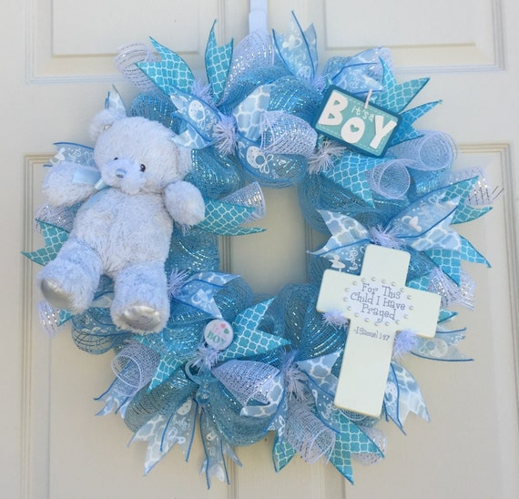 baby wreath baby shower wreath hospital door wreath baby boy wreath