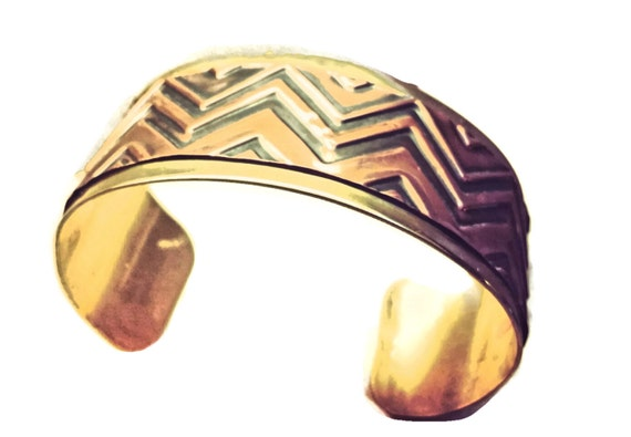 Embossed Copper on Brass riveted chevron cuff bracelet men or women
