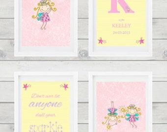 Fairy themed set of 4 prints for nursery.