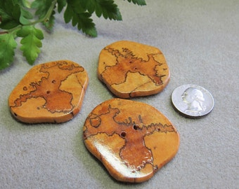 REDUCED CLEARANCE 3 Unique Spalted Tamarind  Large Buttons Exotic Woods Large Handmade ExoticWoodJewelryAnd Ecofriendly repurposed
