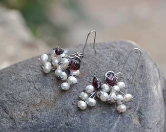 Handmade earrings gemstone garnet,  fresh water pearl,    metal sterling silver  perfect small gift