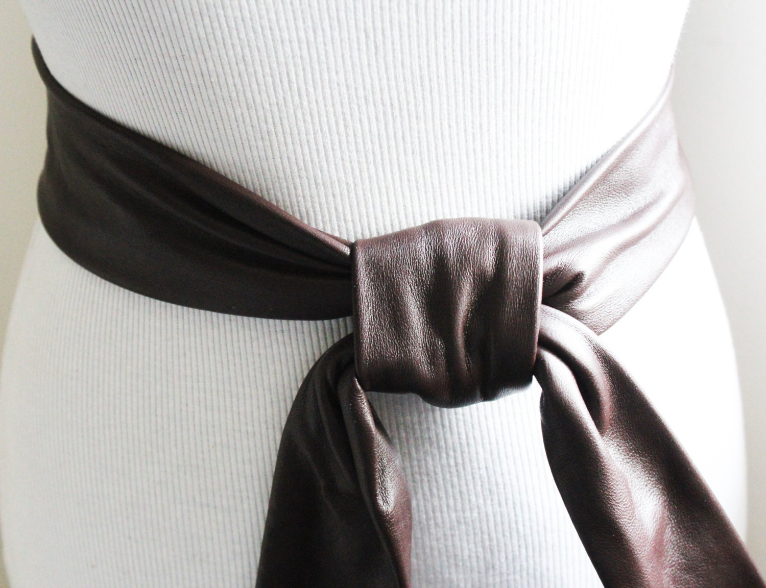 brown soft leather coat tie belt leather by loveyaayaa