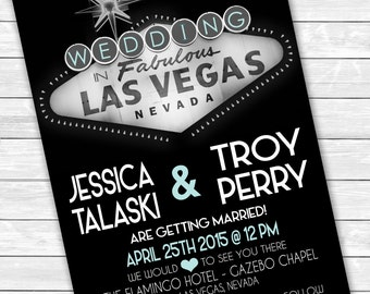 "Las Vegas Wedding Invitations 5"" x 7"" / Desitination Wedding / Themed Wedding"
