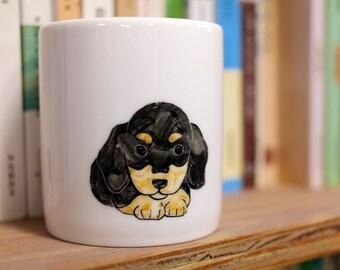 Hand painted animal mug cup - Cute  mug cup - Dog  mug cup - Cute dog - Baby German Pinscher