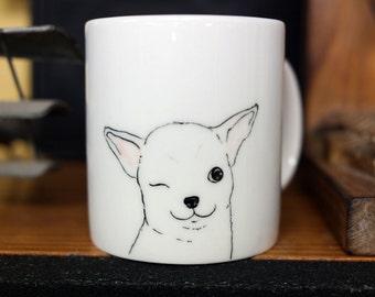 Hand painted animal mug cup - Cute  mug cup - Dog  mug cup - Cute dog - Wink Chihuahua