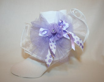 Girls White Nylon & Organza Girl Easter Socks with Lavender Illusion Polk a Dot Ribbon Bow and Flower