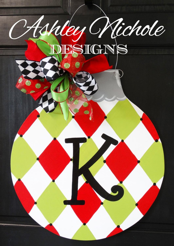 Harlequin Ornament Door Hanger Christmas Door Decor