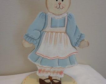 Hand Painted Wood Bunny Rabbit Shelf Display, Window Pane Decor, Wood Bunny Pedestal Art Decor, Folk Art on Wood