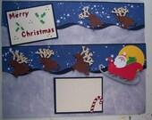 MERRY CHRISTMAS Handmade premade 3 piece Christmas scrapbook border set page layout Santa and reindeer