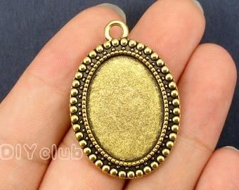 10pcs of Antique Gold Oval Cabochon Base Settings pendants  Match 18x25mm Cabochon