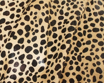 """12 sqft Soft Hair On Hide Cheetah Print Animal Leather Cowhide 68"""" x 29"""" for DIY fold over clutch bag saddle upholstery"""