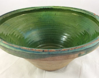 French Confit Bowl/Pot In Unusual Green Color