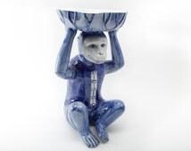 Hand Painted Ceramic Blue Glazed Monkey Statue Dish