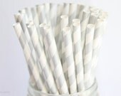 Striped Paper Straws, Silver Straws, Set of 25, Vintage Paper Straws, Mason Jar Straws, Wedding Straws, Baby Shower Straws