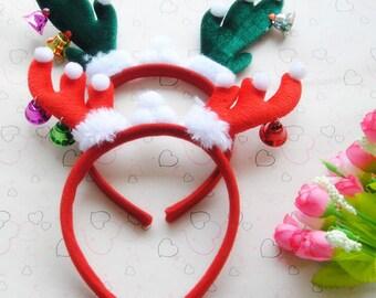 Items similar to cute red reindeer antlers headband enjoy for Reindeer antlers headband craft