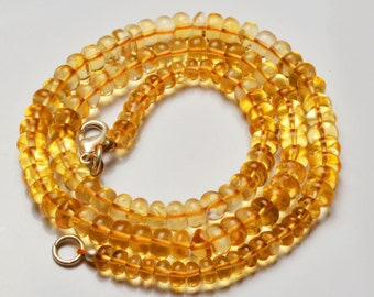 105 Carets 16 inch  Super Rare AAA Citrin  Smooth Roundel  Shape Beads Necklace Size 4.5 TO 5.5 MM