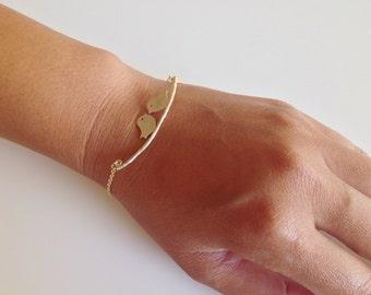 Two Love Birds Matte Gold Bracelet