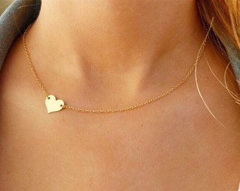 Mini Gold Heart Charm Necklace with 14K Gold Filled Chain