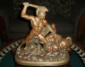 19th c. Rare! After Antonio Canova-Antique Bronze Sculpture-Theseus And The Centaur
