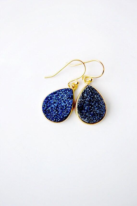 blue druzy earrings gold earrings teardrop earrings sparkly