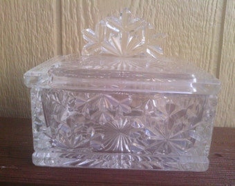 Elegant Cut Glass Lidded Candy Holder with Snowflake Design, Telefora.