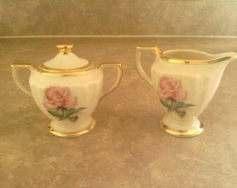 Distinctive  Kingwood Creamer and Sugar Set with Lid, China.